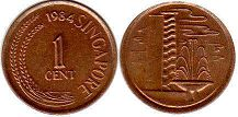 coin singapore1 cent 1984