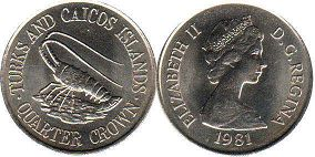 coin Turks and Caicos 1/4 crown 1981