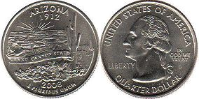 coin US commemorative coin 1/4 dollar 2008 state quarter Arizona