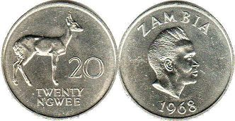coin Zambia 20 ngwee 1968