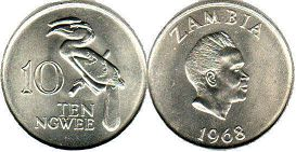 coin Zambia 10 ngwee 1968