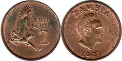 coin Zambia 2 ngwee 1983