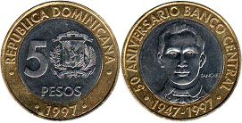 coin Dominican Republic 5 pesos 1997