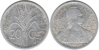 coin French Indochina 20 cents 1945