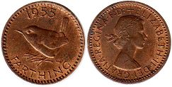 coin Great Britain farthing 1955