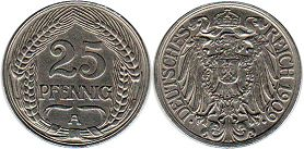 coin Germany 25 pfennig 1909