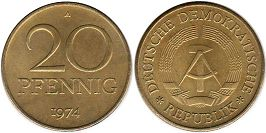 coin Germany DDR 20 pfennig 1974