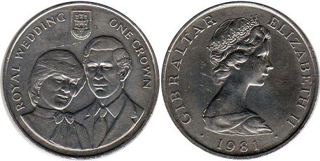coin Gibraltar 1 crown 1981