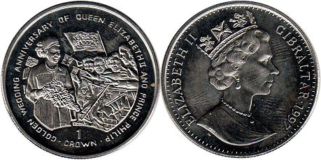 coin Gibraltar 1 crown 1997