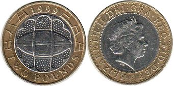 coin Great Britain 2 pounds 1999