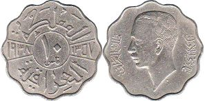 coin Iraq 10 fils 1938