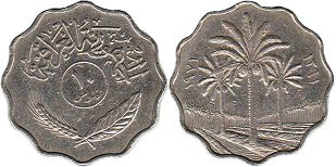 coin Iraq 10 fils 1971