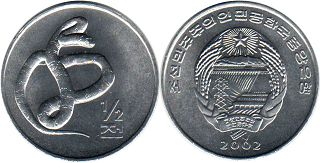coin Korea North 1/2 chon 2002