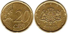 coin Latvia 20 euro cents 2014
