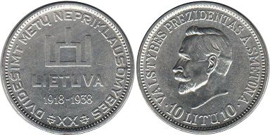 coin Lithuania 10 litu 1938