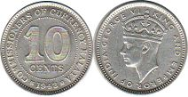 coin Malaya 10 cents 1943