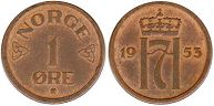 coin Norway 1 ore 1953