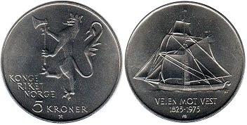 coin Norway 5 kroner 1975