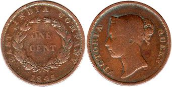coin Straits Settlements 1 cent 1845