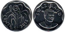 coin Swaziland 10 cents 2015