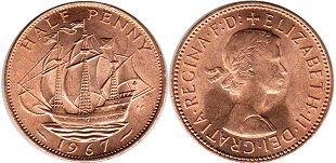 coin UK half penny 1967