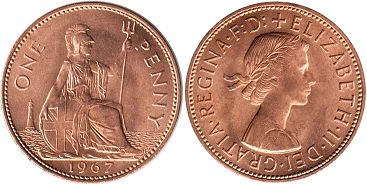 coin UK 1 penny 1967