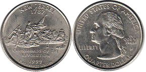 coin US commemorative coin 1/4 dollar 1999 state quarter Ney Jersey