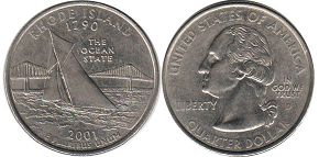 coin US commemorative coin 1/4 dollar 2001 state quarter Rhode Island