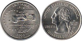 coin US commemorative coin 1/4 dollar 2002 state quarter Indiana