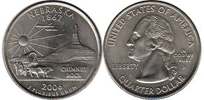 coin US commemorative coin 1/4 dollar 2006 state quarter Nebraska