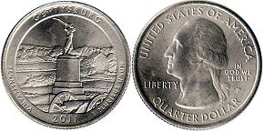 coin US commemorative coin 1/4 dollar 2011 quarter National Parks - Gettysburg
