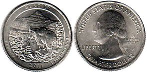 coin US commemorative coin 1/4 dollar 2011 quarter National Parks - Glacier