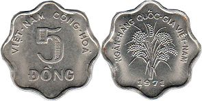 coin South Viet Nam 5 dong 1971