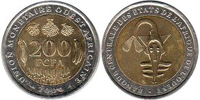 piece West African States 200 francs 2004