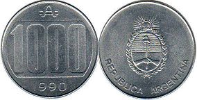 coin Argentina 1000 australes 1990