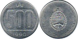 coin Argentina 500 australes 1990