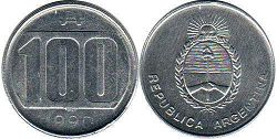 coin Argentina 100 australes 1990
