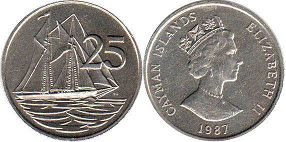 coin Cayman Islands 25 cents 1987