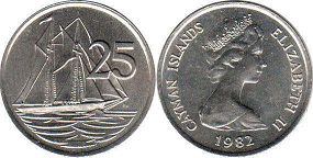 coin Cayman Islands 25 cents 1982