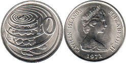 coin Cayman Islands 10 cents 1972