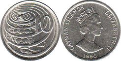 coin Cayman Islands 10 cents 1990