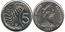 coin Cayman Islands 5 cents 1982