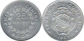 coin Costa Rica 25 centimos 1982