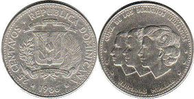 coin Dominican Republic 25 centavos 1986