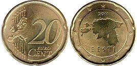 coin Estonia 20 euro cent  2011