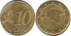 coin Estonia 10 euro cent  2011