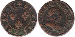 coin France double denier 1574-1589