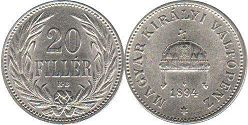 coin Hungary 20 filler 1894