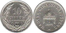 coin Hungary 10 filler 1894