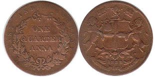 coin East India Company 1/4 anna 1858